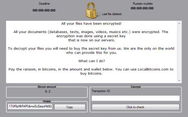 Warning screen by the Philadelphia ransomware