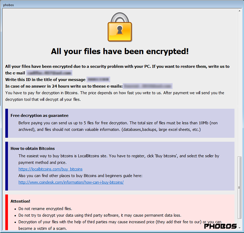 Phobos ransomware decryptor and files recovery [Apr 2019