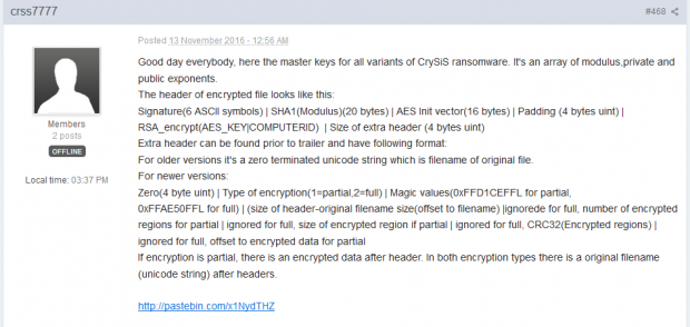 Forum post with Crysis ransomware decrypt information