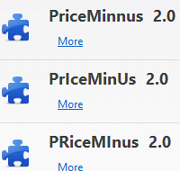 Weird spelling variants of the PriceMinus extension name