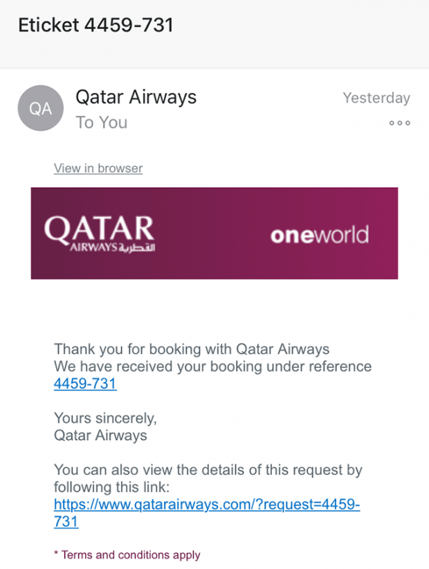 Qatar Airways email scam containing a malicious link