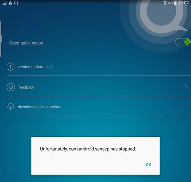 Quick Swipe popup error