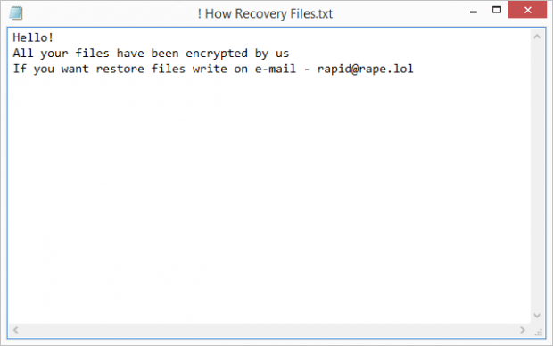 ! How Recovery Files.txt ransom note by Rapid ransomware
