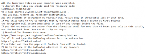Contents of README.txt file dropped by No_more_ransom virus