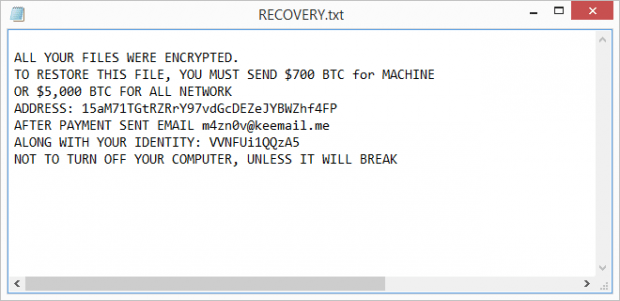 RECOVERY.txt rescue note by HC7 ransomware
