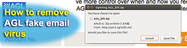 AGL electricity bill email scam infecting with Cryptolocker virus