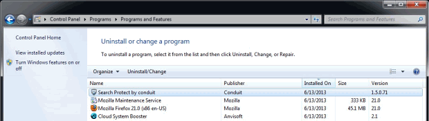 Uninstall Conduit software