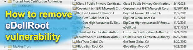 Remove eDellRoot certificate vulnerability on a Dell computer