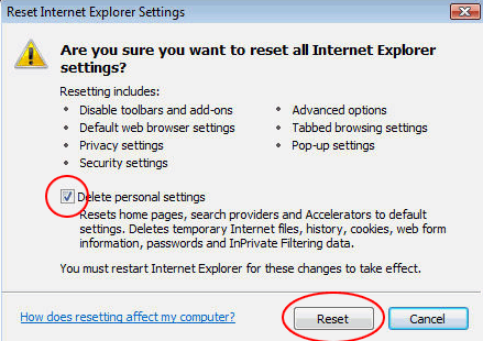 Confirm IE reset