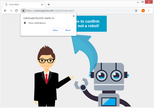 Robot Captcha virus causes browser redirects to robotcaptcha.info site hosting rogue permission request popups