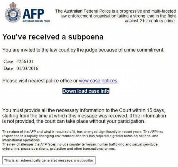 Rogue AFP email about inexistent subpoena
