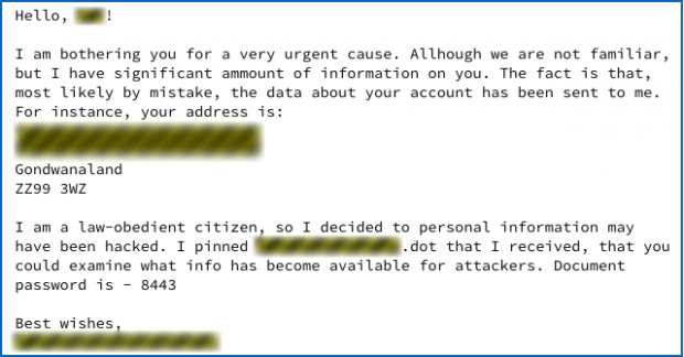 Rogue email with malicious .dot file on board