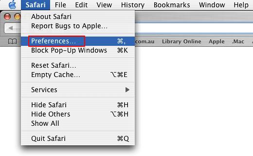 Open up Safari preferences