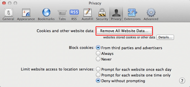 Click the Remove All Website Data button