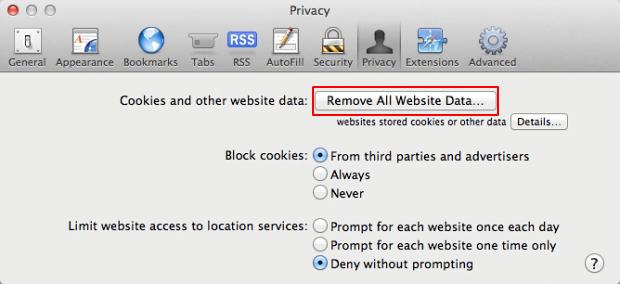 Click the Remove All Website Data button