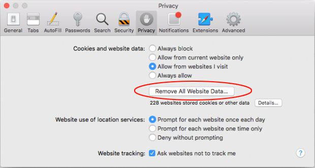 Remove All Website Data