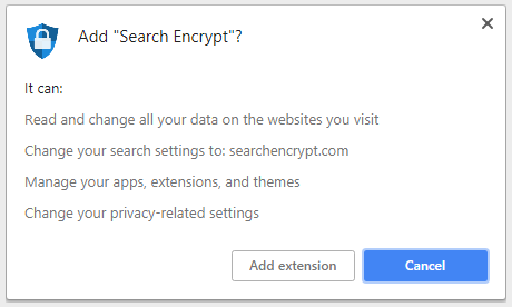 Permissions obtained by Search Encrypt add-on