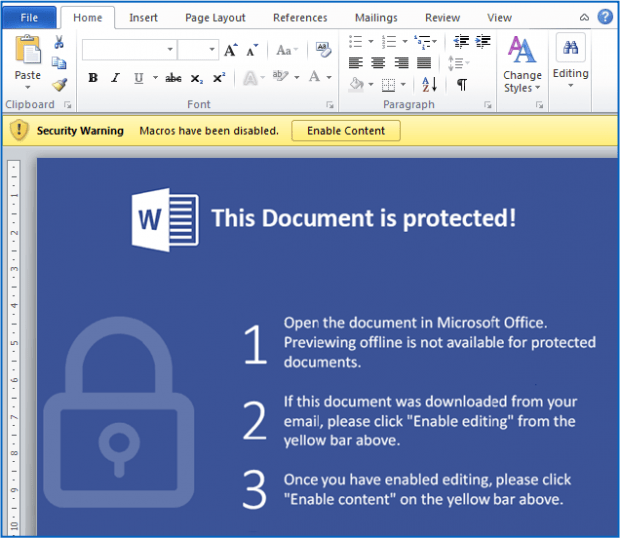 Security Warning asking a victim to enable macros in Word