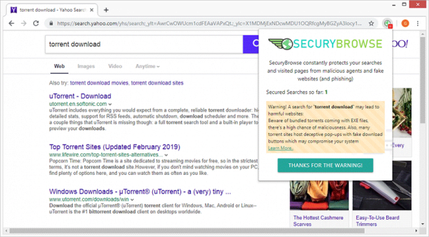 SecuryBrowse Chrome extension