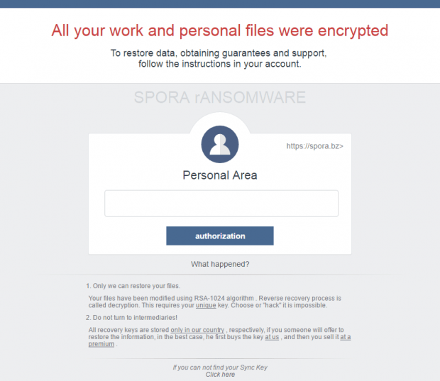 Spora ransomware leaves an HTML ransom note that's also a login page to the decryption service