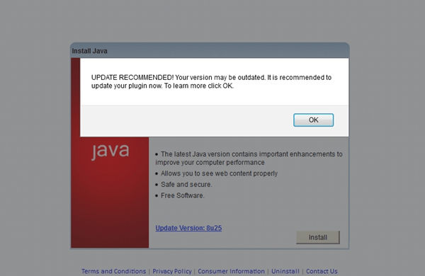 Misleading Java update alert via stamplive.com