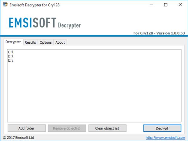 Start data decryption