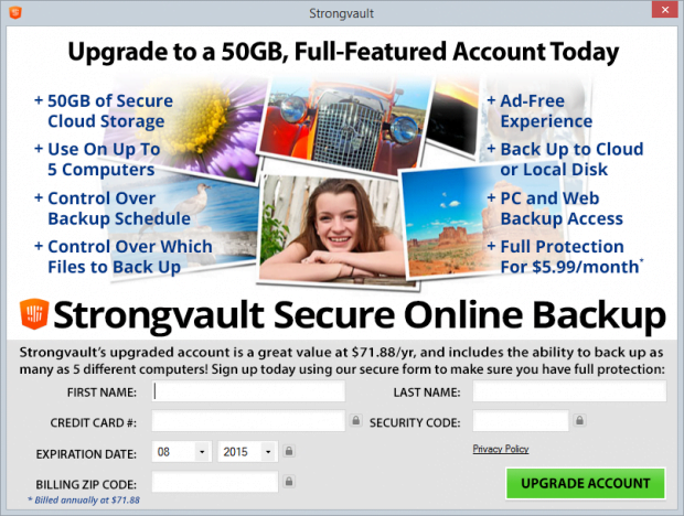 Strongvault features free online backup but makes the system unstable