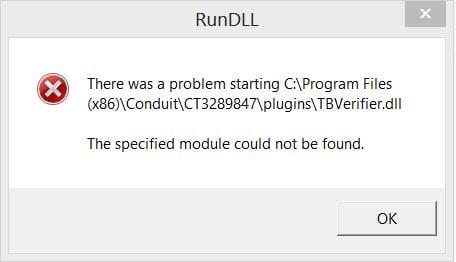 Screenshot of TBVerifier.dll error popup