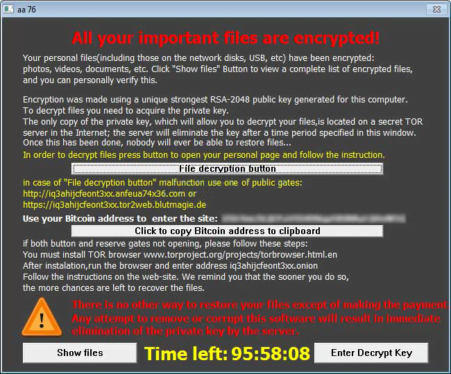 TeslaCrypt 3 0 – decrypt files and remove the ransomware