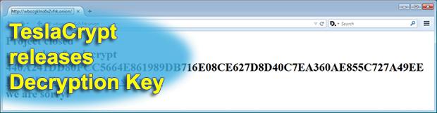 TeslaCrypt releases Master Decryption Key