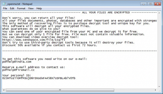 Tfude ransomware provides decryption steps in _openme.txt file