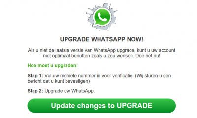The counterfeit WhatsApp update message