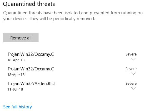Trojan:Win32/Occamy.C quarantined by security suite as a severe threat