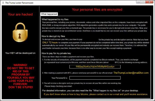 TrumpLocker ransomware payment instructions