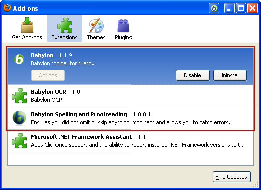 Uninstall Babylon add-ons in Firefox