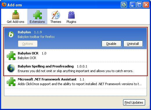 Uninstall Babylon add-ons in Firefox