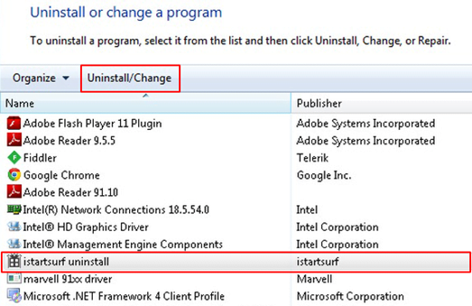 Uninstall Istartpageing related software