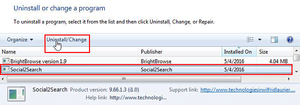 Uninstall Social2Search