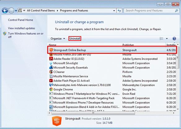 Uninstall Strongvault Online Backup