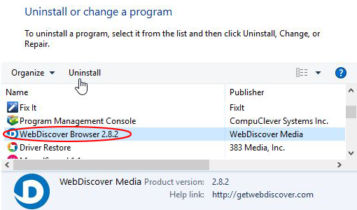 Uninstall WebDiscover Browser via Control Panel