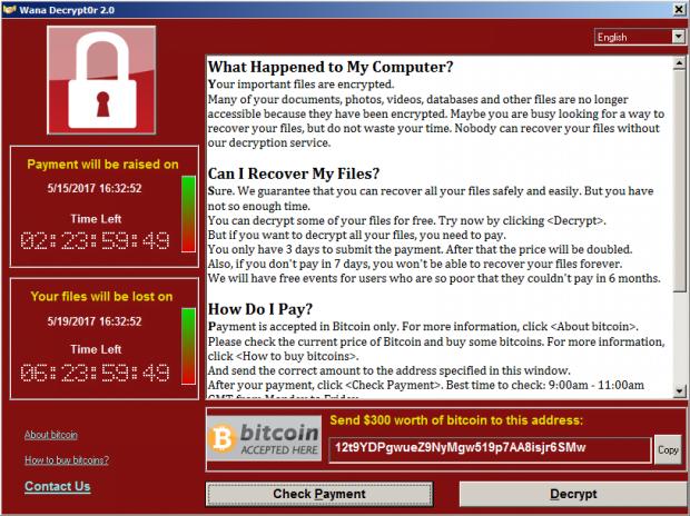 Wana Decrypt0r 2.0 ransomware GUI