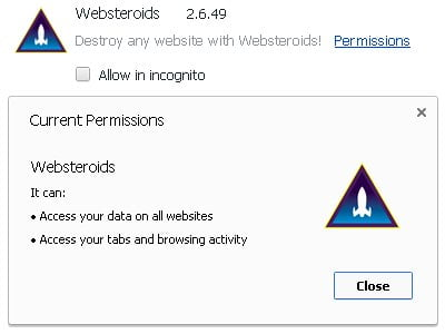 Websteroids browser add-on's permissions