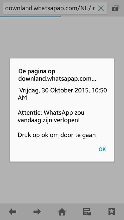 Confirmation popup at downland.whatsapap.com