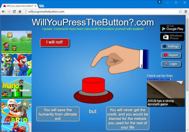 WillYouPressTheButton.com site