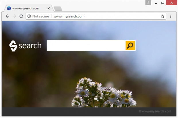 Homepage promoted by the www-mysearch.com browser hijacker