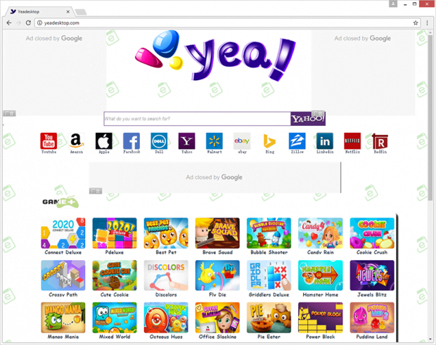 Yeadesktop.com, homepage of the adware